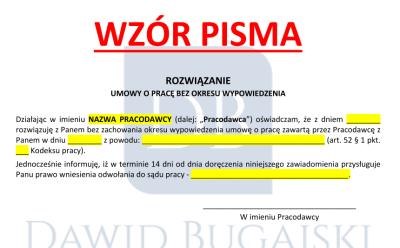 (Polski) Rozwiązanie umowy o pracę bez wypowiedzenia w czasie zwolnienia lekarskiego + wzór rozwiązania