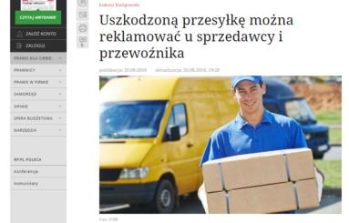 RP.PL – 20.08.2016 Uszkodzoną przesyłkę można reklamować u sprzedawcy i przewoźnika